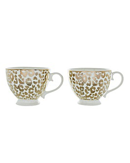 Set of 2 Gold Leopard Print Mugs