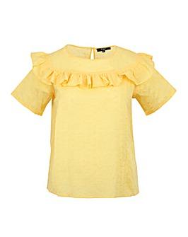 Koko Yellow Broidery Englais Frill Top