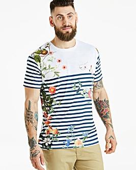 Jacamo Floral Stripe T-Shirt Regular