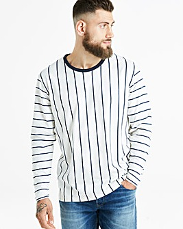 Jacamo Vertical Stripe L/S T-Shirt Long