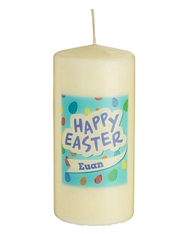 Personalised Blue Easter Pillar Candle