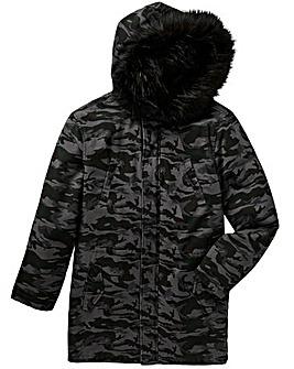 Label J Camo Print Fur Trim Parka R