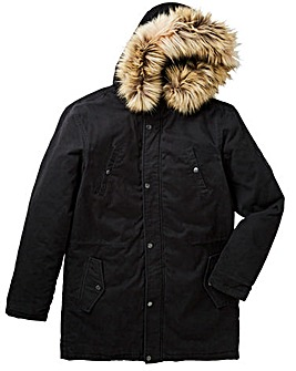 Label J Badged Fur Trim Parka R