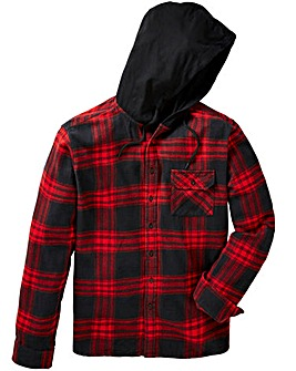 Label J Long Sleeve Hood Print Check Shirt Long