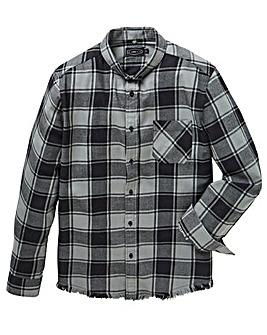 Label J Fray Hem Check Shirt Long