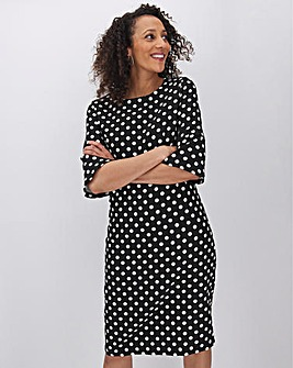 Polka Dot Fluted Sleeve Bodycon Dress