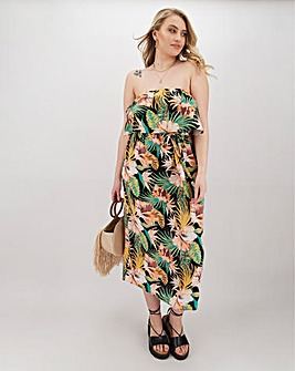 Tropical Print Bandeau Crinkle Midi Dress