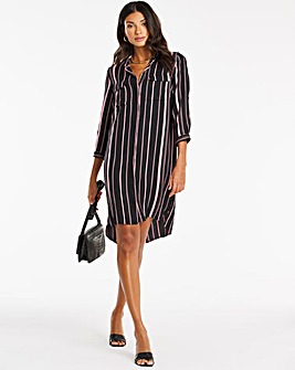 Rose Stripe Shirt Dress
