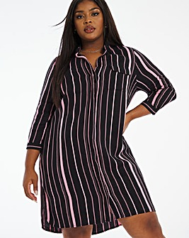 Rose Stripe Pocket Shirt Dress