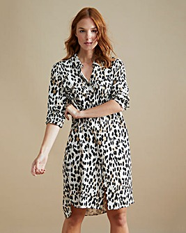Animal Print Pocket Shirt Dress