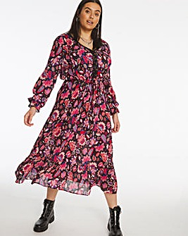 Pink and Purple Folk Print Lace Trim Crinkle Midi Dress
