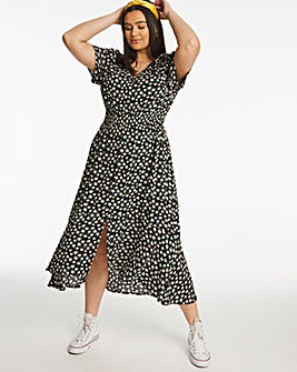 Daisy Print Frill Hem Crinkle Midi Dress
