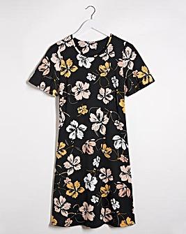 Dark Floral Short Sleeve Swing Dress