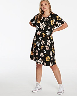 Dark Floral Short Sleeve Swing Dress