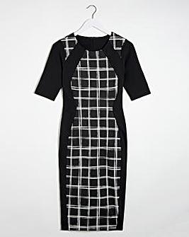 Mono Check Print Illusion Dress