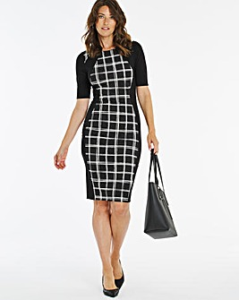 Mono Check Print Illusion Dress