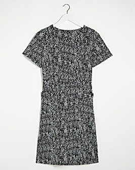 Mono Print Ponte Pocket Shift Dress