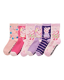 Peppa Pig Girls Pack Of Six Socks