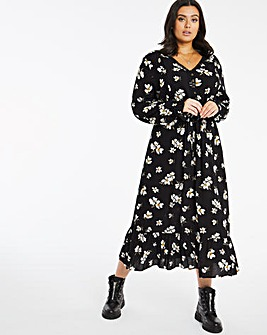 Dark Floral Lace Trim Crinkle Midi Dress