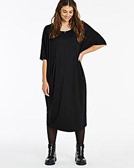 Black Pocket Cocoon Jersey Dress