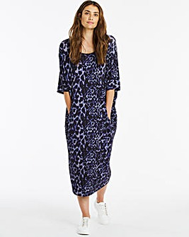 Navy Animal Print Cocoon Jersey Dress with Pockets