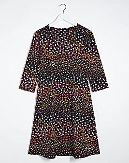 Spot Print 3/4 Sleeve Swing Dress