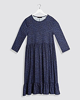 Navy Animal 3/4 Sleeve Smock Dress