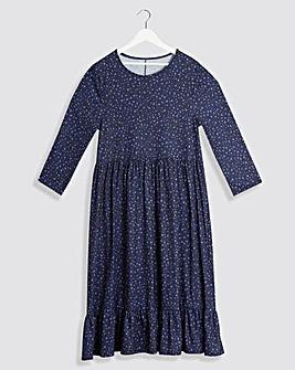 Navy Animal Print 3/4 Sleeve Smock Dress