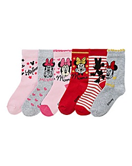 Minnie Mouse Girls Pack Of Six Socks