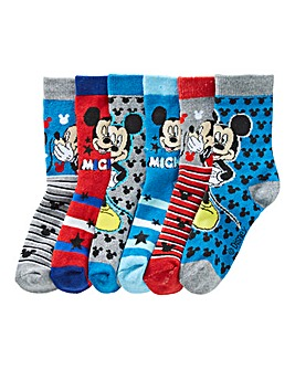 Mickey Mouse Boys Pack Of Six Socks