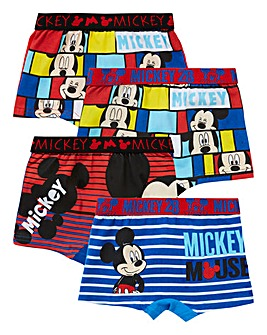 Mickey Mouse Boys Pack Of Four Trunks