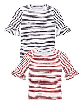 KD Girls Pack of Two Stripe Tees