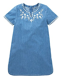 KD Girls Denim Embroidered Dress