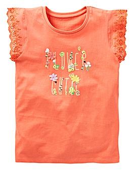 KD Girls Frill Sleeve Flower Tee