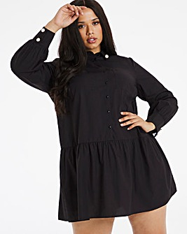 Black Pearl Cotton Poplin Drop Waist Shirt Dress