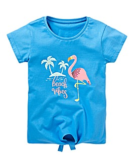 KD Girls Flamingo Tee With Tie Front