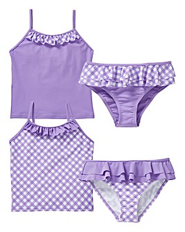 Girls Pack of Two Gingham Tankinis