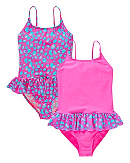 KD Girls 2PK Leopard Print Swimsuits