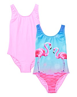 Girls Pack of Two Flamingo Swimsuits