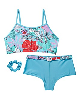 KD Girls Floral Bikini and Scrunchy Set