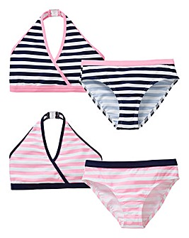 KD Girls Pack of Two Striped Bikini