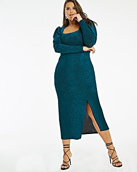 Teal Mutton Sleeve Square Neck Bodycon Dress
