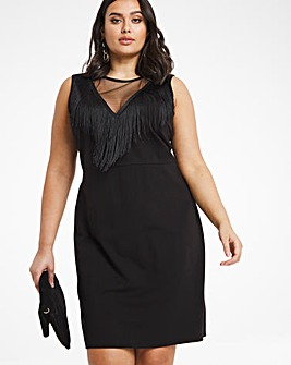 Black Tassel Front Bodycon Dress