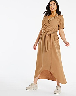 Camel Wrap Shirt Dress