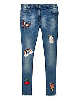 KD Girls Badge Skinny Jeans