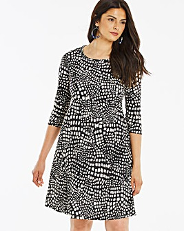 Animal Print 3/4 Sleeve Swing Dress