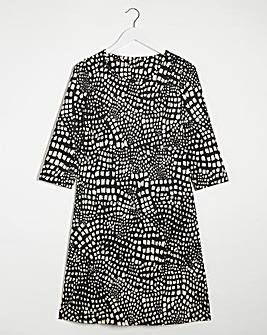 Animal Print 3/4 Sleeve Swing Dress