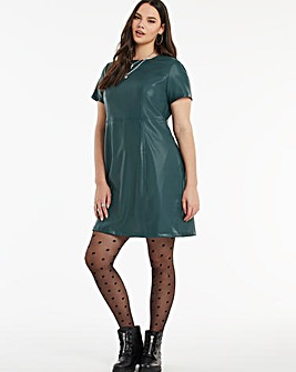 Bottle Green Short Sleeve PU Dress