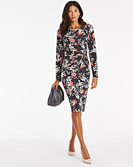 Floral Print Twist Knot Bodycon Dress