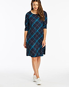 Navy Check 3/4 Sleeve Swing Dress